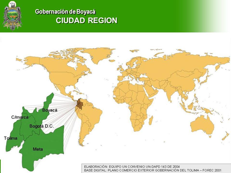 Gobernación de Boyacá CIUDAD REGION TUNJA Y MUNICIPIOS CIRCUNDANTES DEPARTAMENTO ADMINISTRATIVO DE PLANEACION GOBERNACION DE BOYACA