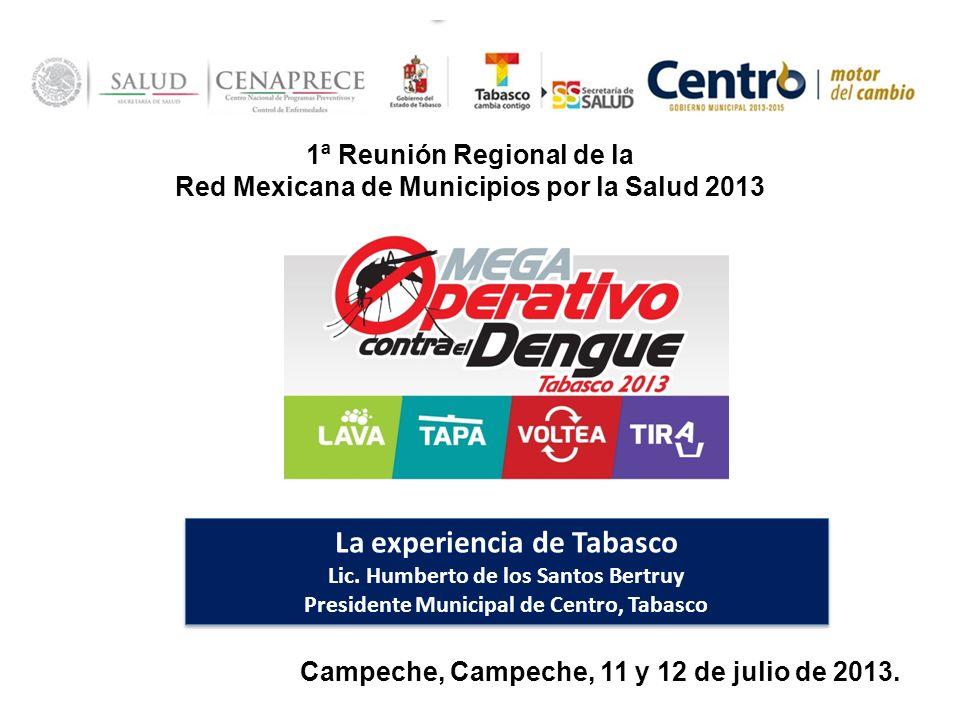 1ª Reunión Regional de la Red Mexicana de Municipios por la Salud 2013 Campeche, Campeche, 11 y 12 de julio de 2013. La experiencia de Tabasco Lic. Hu