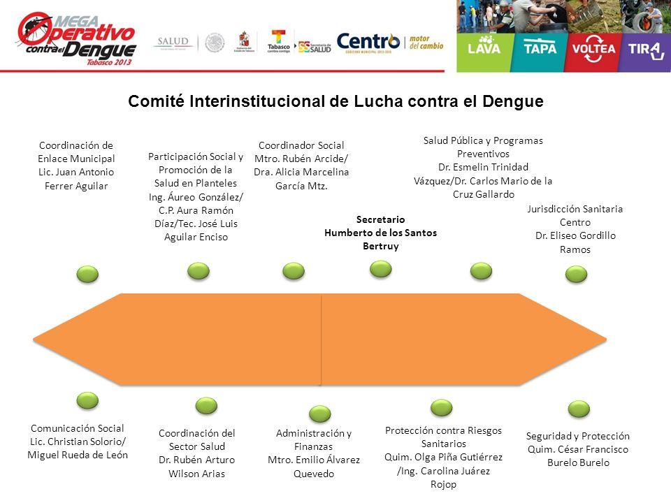 Comité Interinstitucional de Lucha contra el Dengue Coordinación de Enlace Municipal Lic. Juan Antonio Ferrer Aguilar Participación Social y Promoción