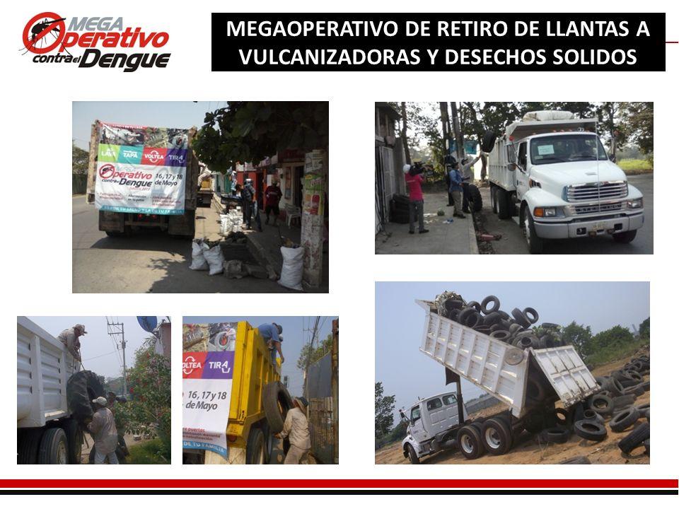Comité Interinstitucional de Lucha Contra el Dengue MEGAOPERATIVO DE RETIRO DE LLANTAS A VULCANIZADORAS Y DESECHOS SOLIDOS
