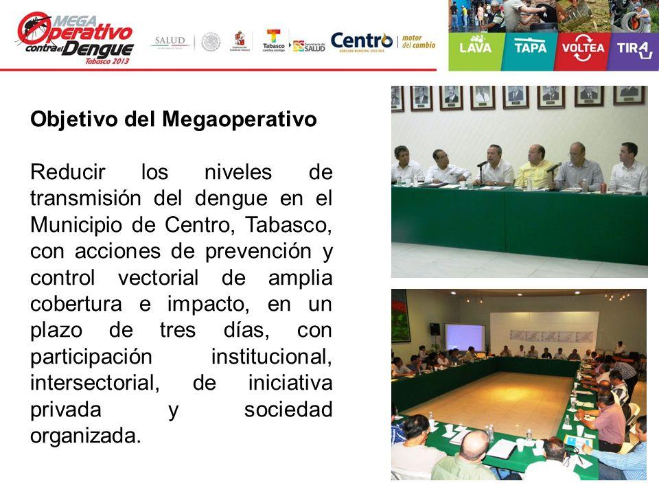 Objetivo del Megaoperativo Reducir los niveles de transmisión del dengue en el Municipio de Centro, Tabasco, con acciones de prevención y control vect