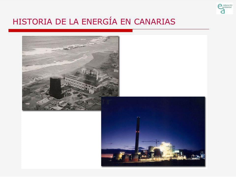 HISTORIA DE LA ENERGÍA EN CANARIAS Aparición de las diferentes fuentes de energía en Canarias (1) En la historia del uso de la energía en Canarias deben considerarse dos periodos claramente diferenciados: el anterior a la conquista por los castellanos y el posterior a ella.
