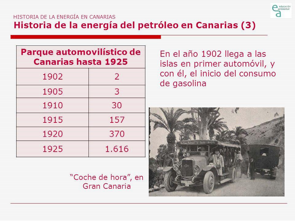 HISTORIA DE LA ENERGÍA EN CANARIAS Historia de la energía del petróleo en Canarias (3) Coche de hora, en Gran Canaria Parque automovilístico de Canari