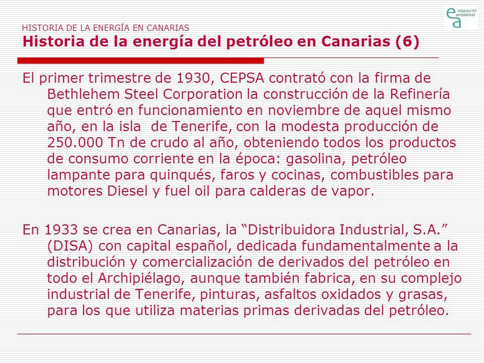 HISTORIA DE LA ENERGÍA EN CANARIAS Historia de la energía del petróleo en Canarias (6) El primer trimestre de 1930, CEPSA contrató con la firma de Bet