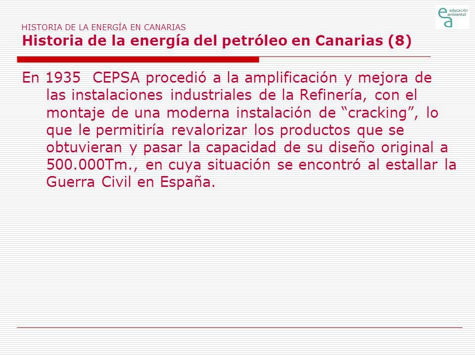 HISTORIA DE LA ENERGÍA EN CANARIAS Historia de la energía del petróleo en Canarias (8) En 1935 CEPSA procedió a la amplificación y mejora de las insta