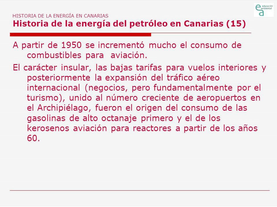 HISTORIA DE LA ENERGÍA EN CANARIAS Historia de la energía del petróleo en Canarias (15) A partir de 1950 se incrementó mucho el consumo de combustible