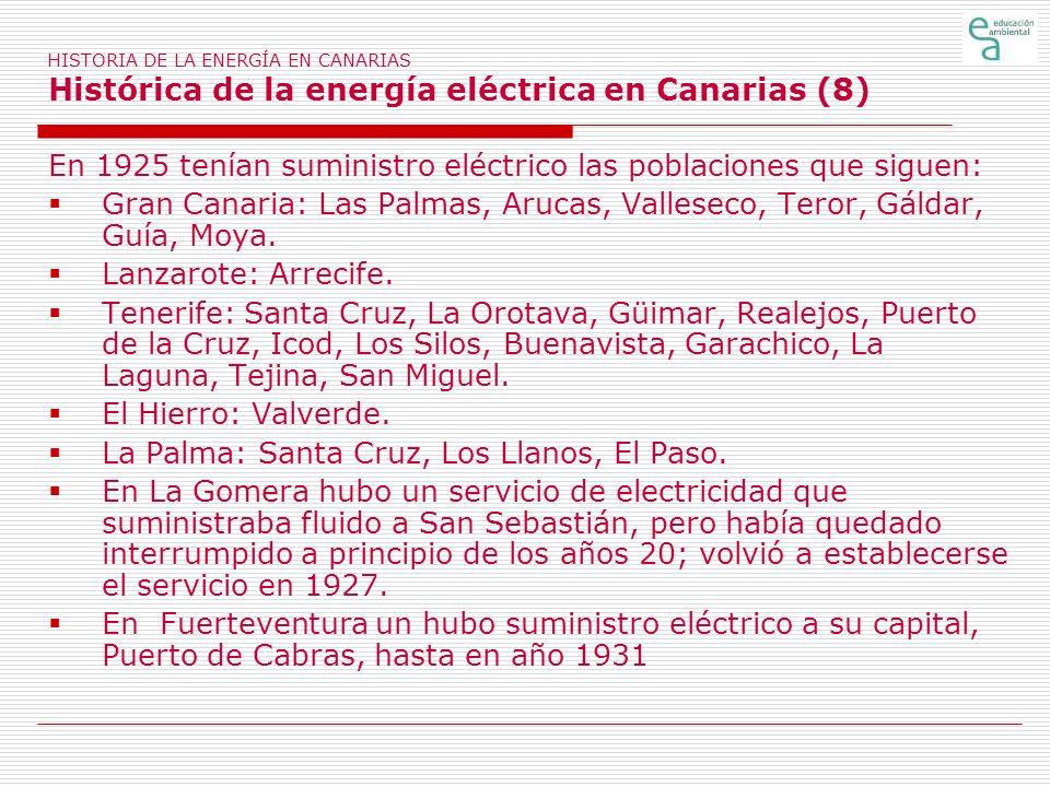 HISTORIA DE LA ENERGÍA EN CANARIAS Histórica de la energía eléctrica en Canarias (8) En 1925 tenían suministro eléctrico las poblaciones que siguen: G