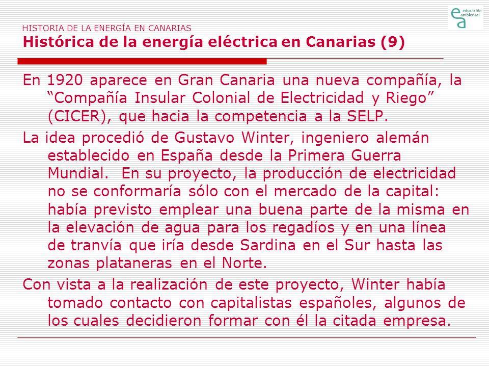 HISTORIA DE LA ENERGÍA EN CANARIAS Histórica de la energía eléctrica en Canarias (9) En 1920 aparece en Gran Canaria una nueva compañía, la Compañía I