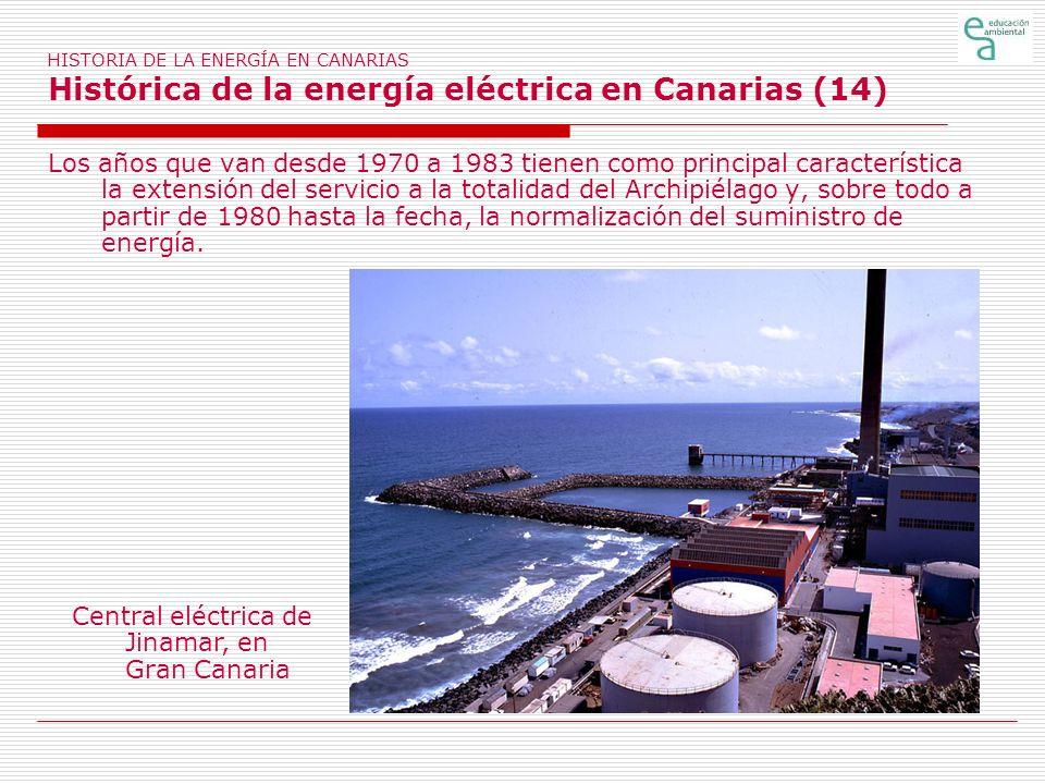 HISTORIA DE LA ENERGÍA EN CANARIAS Histórica de la energía eléctrica en Canarias (14) Los años que van desde 1970 a 1983 tienen como principal caracte