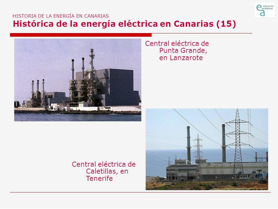 HISTORIA DE LA ENERGÍA EN CANARIAS Histórica de la energía eléctrica en Canarias (15) Central eléctrica de Punta Grande, en Lanzarote Central eléctric