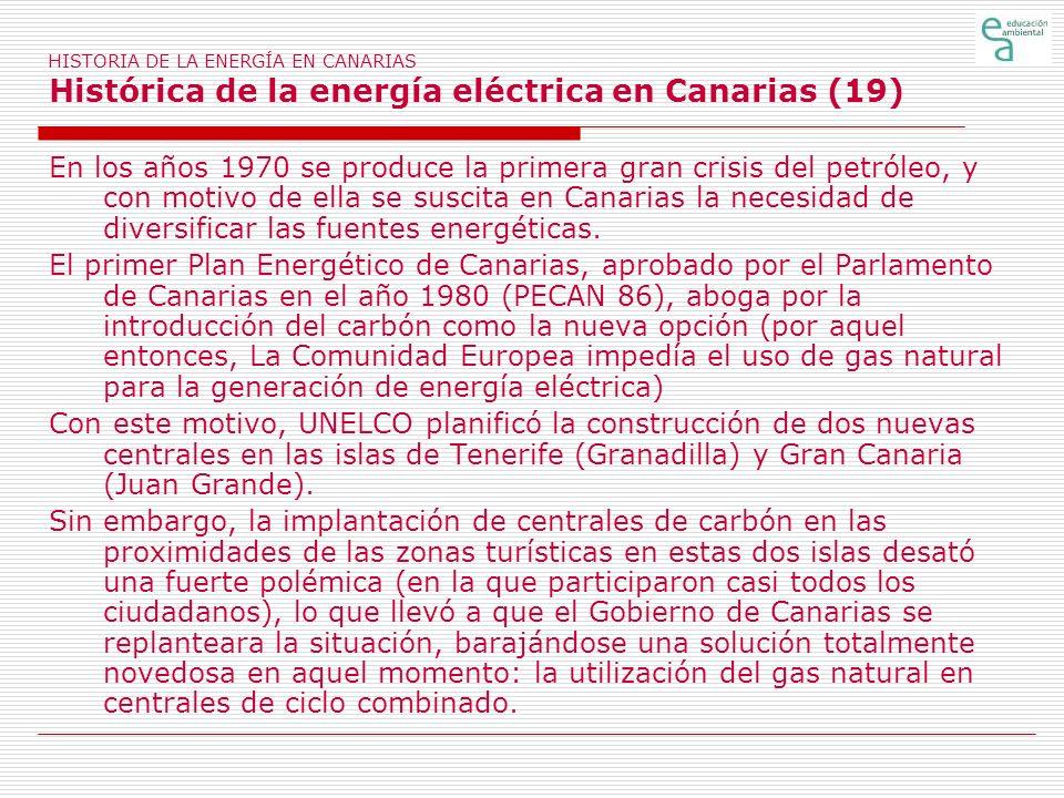 HISTORIA DE LA ENERGÍA EN CANARIAS Histórica de la energía eléctrica en Canarias (19) En los años 1970 se produce la primera gran crisis del petróleo,