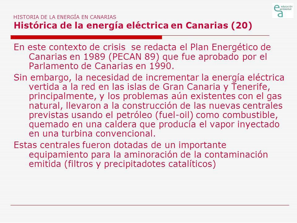 HISTORIA DE LA ENERGÍA EN CANARIAS Histórica de la energía eléctrica en Canarias (20) En este contexto de crisis se redacta el Plan Energético de Cana