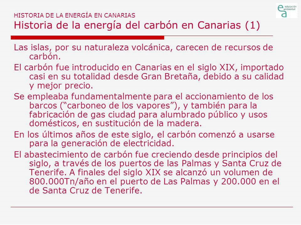 HISTORIA DE LA ENERGÍA EN CANARIAS Historia de la energía del carbón en Canarias (2) Este carbón era importado y distribuido por compañías extranjeras establecidas en las Islas, destacando la Miller en la Las Palmas y la Hamilton en Tenerife.