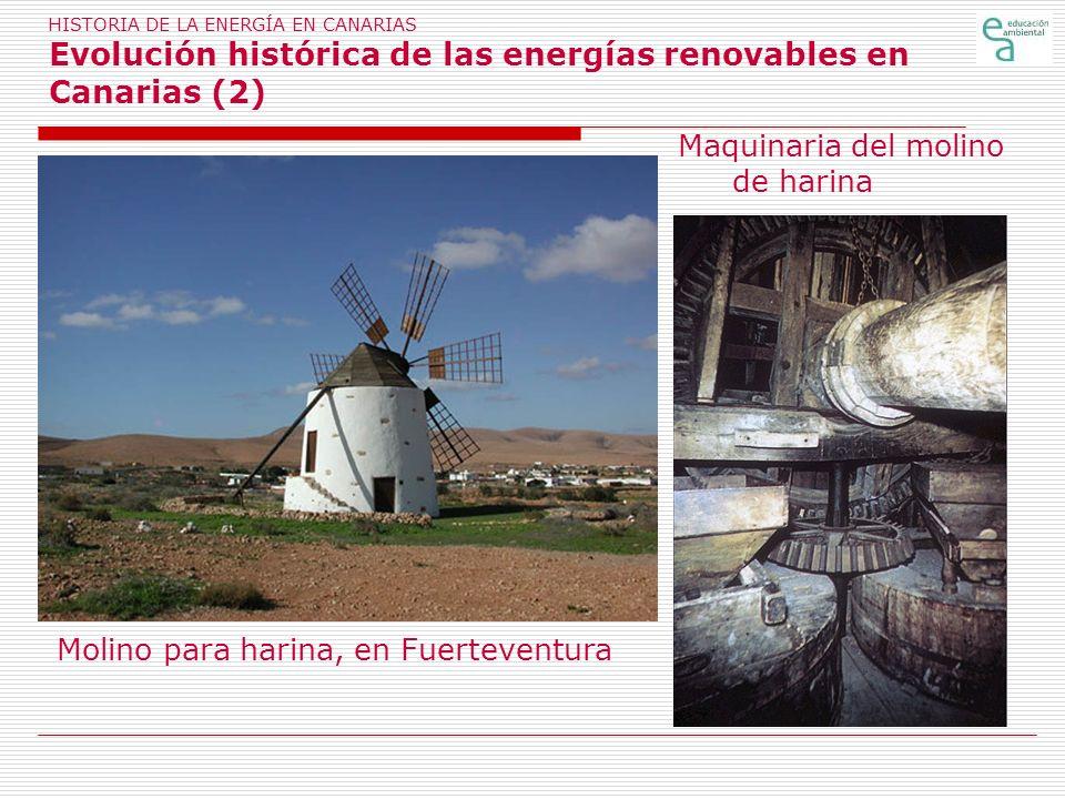 HISTORIA DE LA ENERGÍA EN CANARIAS Evolución histórica de las energías renovables en Canarias (2) Maquinaria del molino de harina Molino para harina,