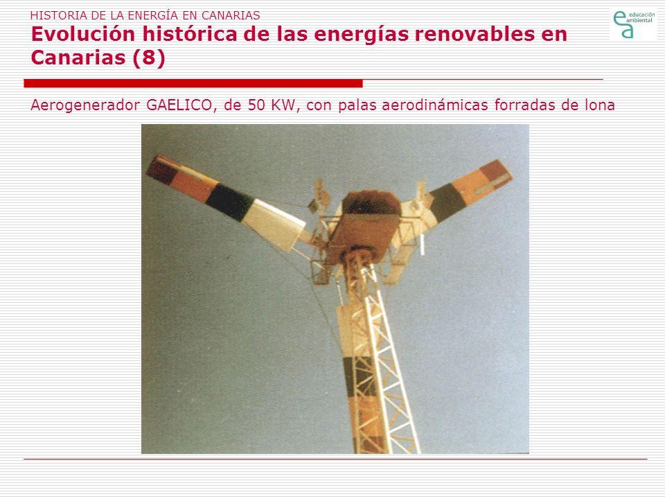 HISTORIA DE LA ENERGÍA EN CANARIAS Evolución histórica de las energías renovables en Canarias (8) Aerogenerador GAELICO, de 50 KW, con palas aerodinám