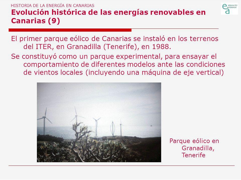 HISTORIA DE LA ENERGÍA EN CANARIAS Evolución histórica de las energías renovables en Canarias (9) El primer parque eólico de Canarias se instaló en lo