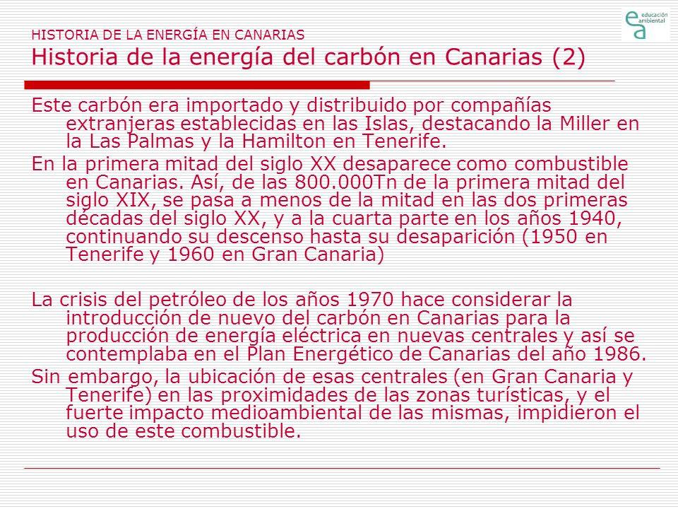 HISTORIA DE LA ENERGÍA EN CANARIAS Historia de la energía del carbón en Canarias (2) Este carbón era importado y distribuido por compañías extranjeras