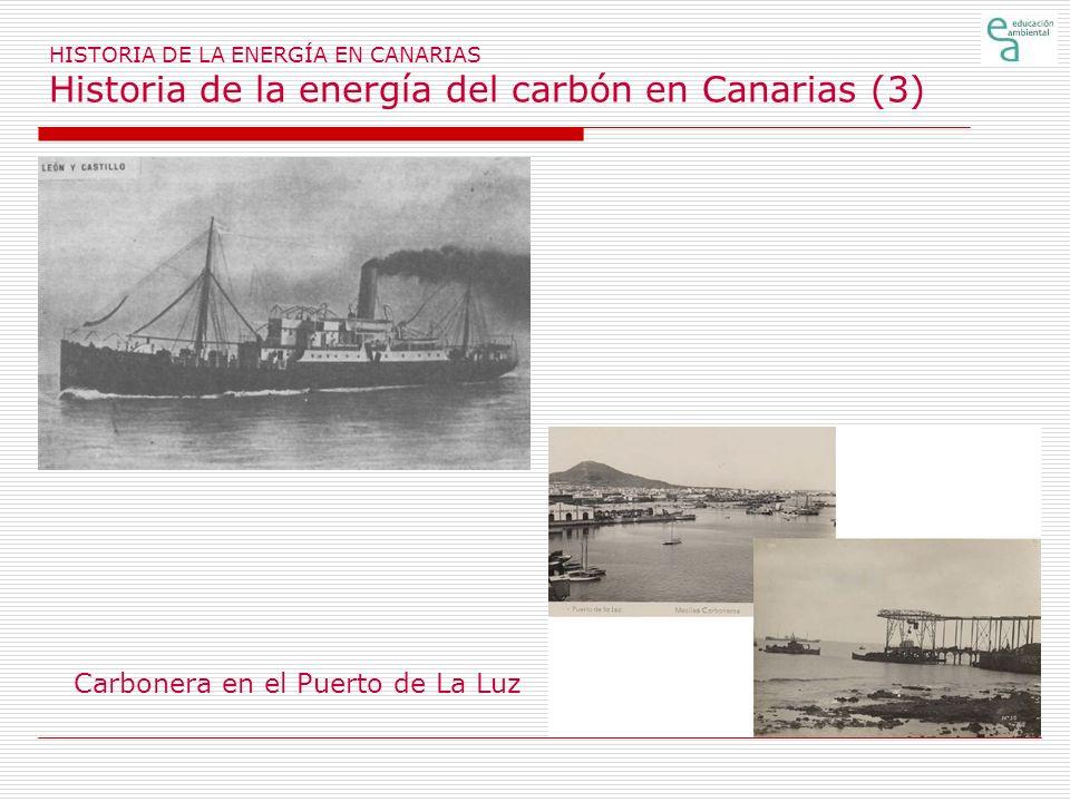 HISTORIA DE LA ENERGÍA EN CANARIAS Historia de la energía del petróleo en Canarias (1) En el siglo XIX, la iluminación en las casas y recintos cerrados se efectuaba con cera (velas) y con aceites de esquisto y esperma, traídos desde el exterior.