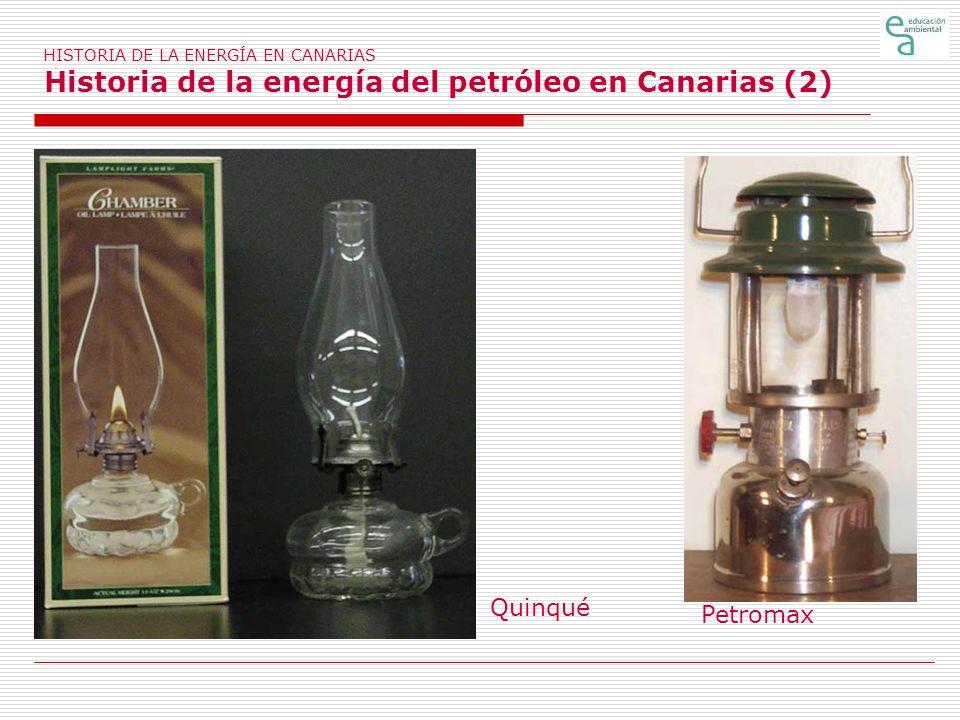 HISTORIA DE LA ENERGÍA EN CANARIAS Historia de la energía del petróleo en Canarias (3) Coche de hora, en Gran Canaria Parque automovilístico de Canarias hasta 1925 19022 19053 191030 1915157 1920370 19251.616 En el año 1902 llega a las islas en primer automóvil, y con él, el inicio del consumo de gasolina