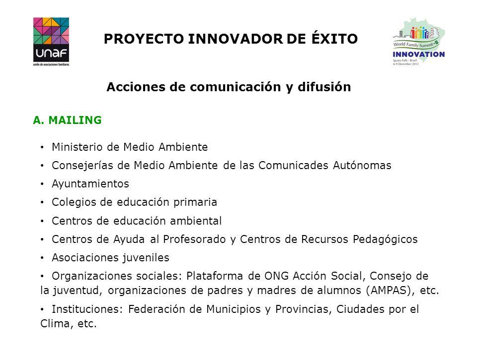 PROYECTO INNOVADOR DE ÉXITO Acciones de comunicación y difusión Ministerio de Medio Ambiente Consejerías de Medio Ambiente de las Comunicades Autónoma