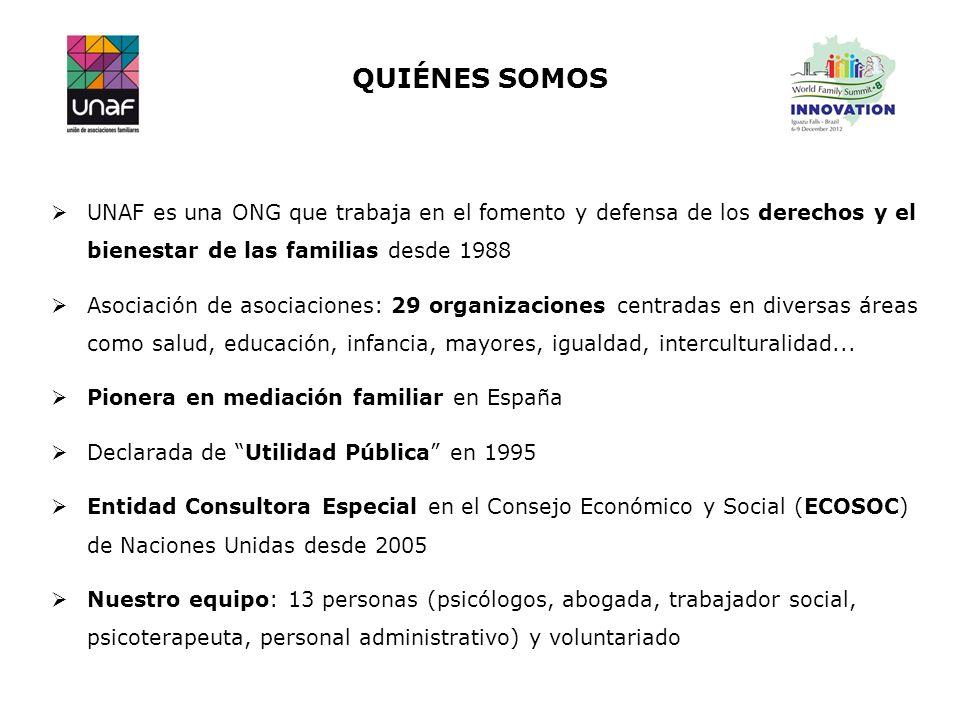 UNAF es una ONG que trabaja en el fomento y defensa de los derechos y el bienestar de las familias desde 1988 Asociación de asociaciones: 29 organizac