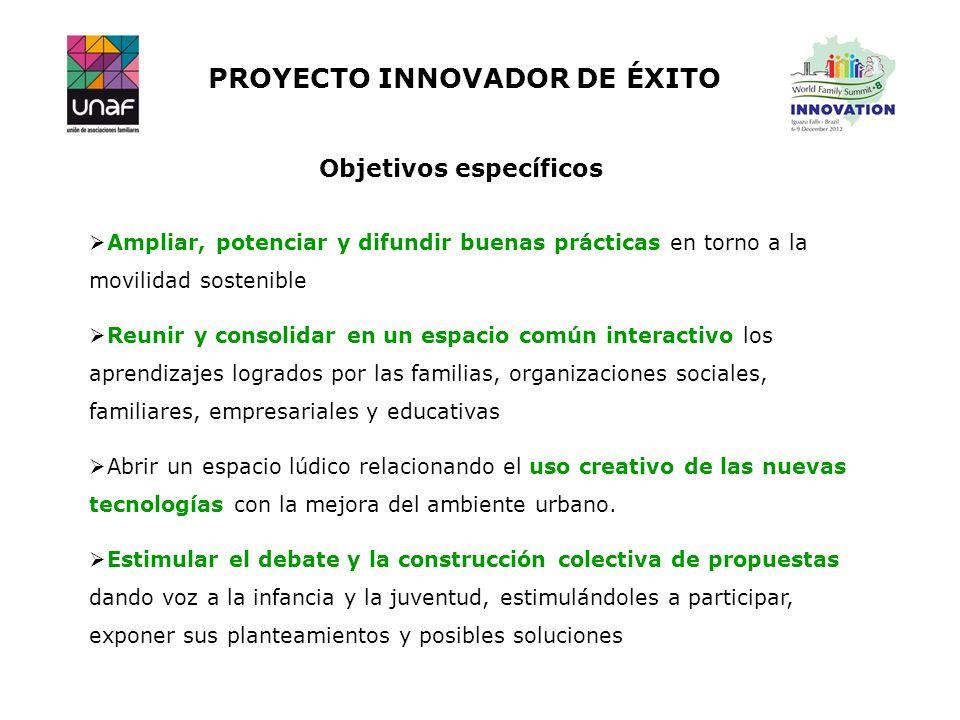 PROYECTO INNOVADOR DE ÉXITO Objetivos específicos Ampliar, potenciar y difundir buenas prácticas en torno a la movilidad sostenible Reunir y consolida