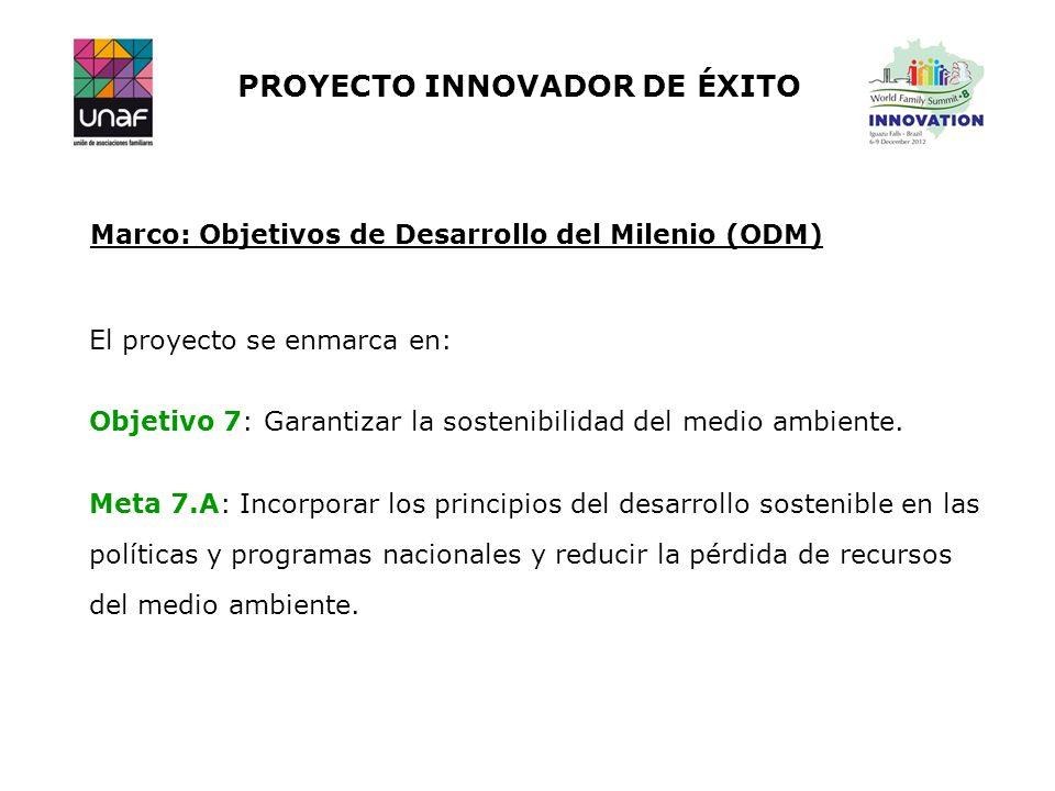 PROYECTO INNOVADOR DE ÉXITO Marco: Objetivos de Desarrollo del Milenio (ODM) El proyecto se enmarca en: Objetivo 7: Garantizar la sostenibilidad del m