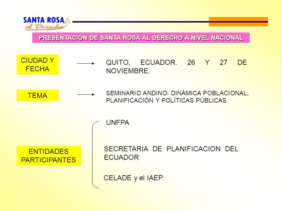 PRESENTACIÓN DE SANTA ROSA AL DERECHO A NIVEL NACIONAL ENTIDADES PARTICIPANTES UNFPA SECRETARIA DE PLANIFICACION DEL ECUADOR CELADE y el IAEP. CIUDAD