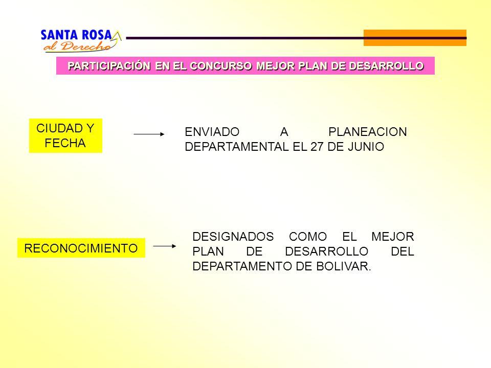 PARTICIPACIÓN EN EL CONCURSO MEJOR PLAN DE DESARROLLO RECONOCIMIENTO DESIGNADOS COMO EL MEJOR PLAN DE DESARROLLO DEL DEPARTAMENTO DE BOLIVAR. CIUDAD Y