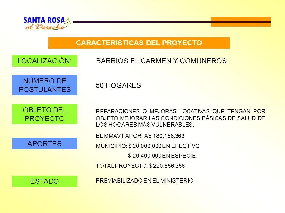 CARACTERISTICAS DEL PROYECTO LOCALIZACIÓN:BARRIOS EL CARMEN Y COMUNEROS NÚMERO DE POSTULANTES 50 HOGARES OBJETO DEL PROYECTO REPARACIONES O MEJORAS LO