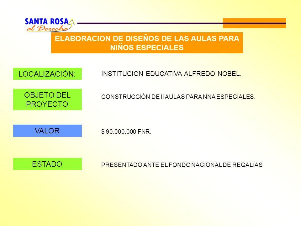 ELABORACION DE DISEÑOS DE LAS AULAS PARA NIÑOS ESPECIALES LOCALIZACIÓN: INSTITUCION EDUCATIVA ALFREDO NOBEL. OBJETO DEL PROYECTO CONSTRUCCIÓN DE II AU