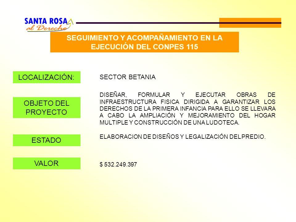 SEGUIMIENTO Y ACOMPAÑAMIENTO EN LA EJECUCIÓN DEL CONPES 115 LOCALIZACIÓN: SECTOR BETANIA OBJETO DEL PROYECTO DISEÑAR, FORMULAR Y EJECUTAR OBRAS DE INF