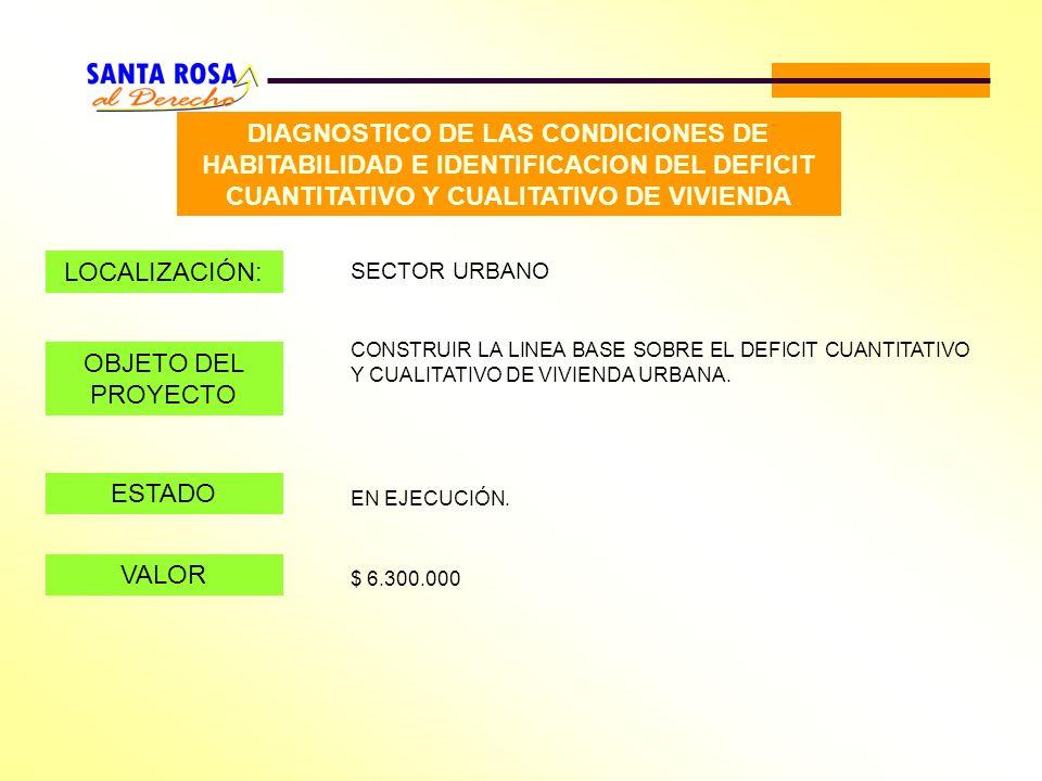 DIAGNOSTICO DE LAS CONDICIONES DE HABITABILIDAD E IDENTIFICACION DEL DEFICIT CUANTITATIVO Y CUALITATIVO DE VIVIENDA LOCALIZACIÓN: SECTOR URBANO OBJETO