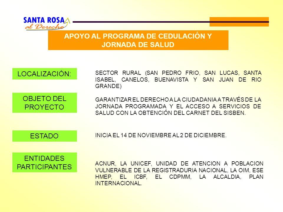 APOYO AL PROGRAMA DE CEDULACIÓN Y JORNADA DE SALUD LOCALIZACIÓN: SECTOR RURAL (SAN PEDRO FRIO, SAN LUCAS, SANTA ISABEL, CANELOS, BUENAVISTA Y SAN JUAN