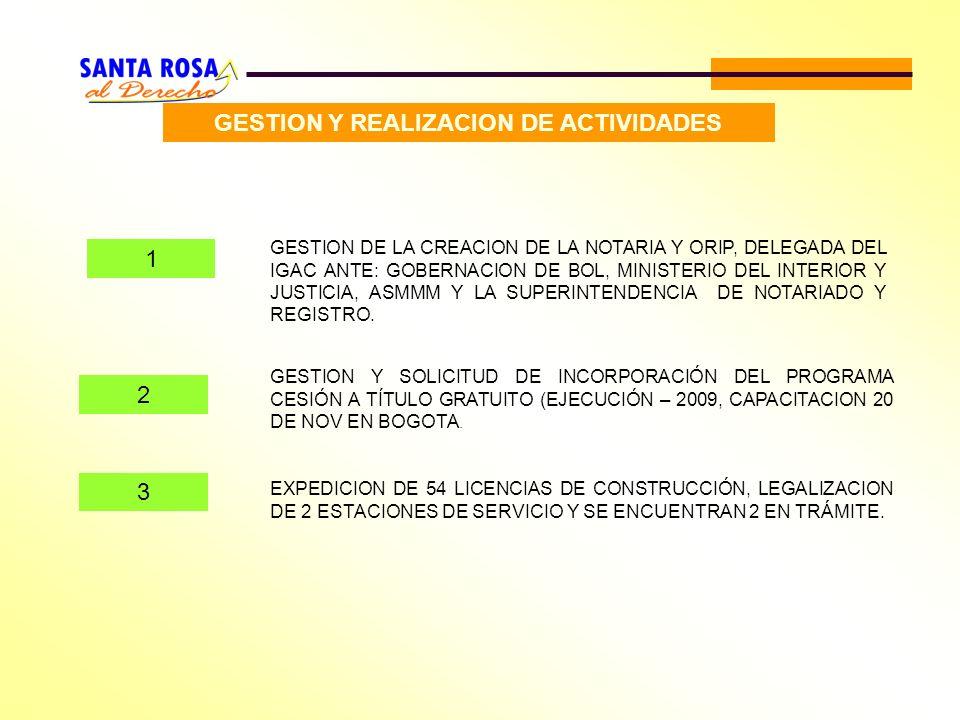 GESTION Y REALIZACION DE ACTIVIDADES 1 GESTION DE LA CREACION DE LA NOTARIA Y ORIP, DELEGADA DEL IGAC ANTE: GOBERNACION DE BOL, MINISTERIO DEL INTERIO