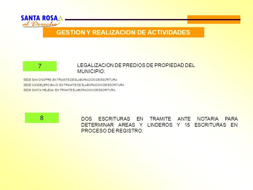 GESTION Y REALIZACION DE ACTIVIDADES 7 LEGALIZACION DE PREDIOS DE PROPIEDAD DEL MUNICIPIO: DOS ESCRITURAS EN TRAMITE ANTE NOTARIA PARA DETERMINAR AREA