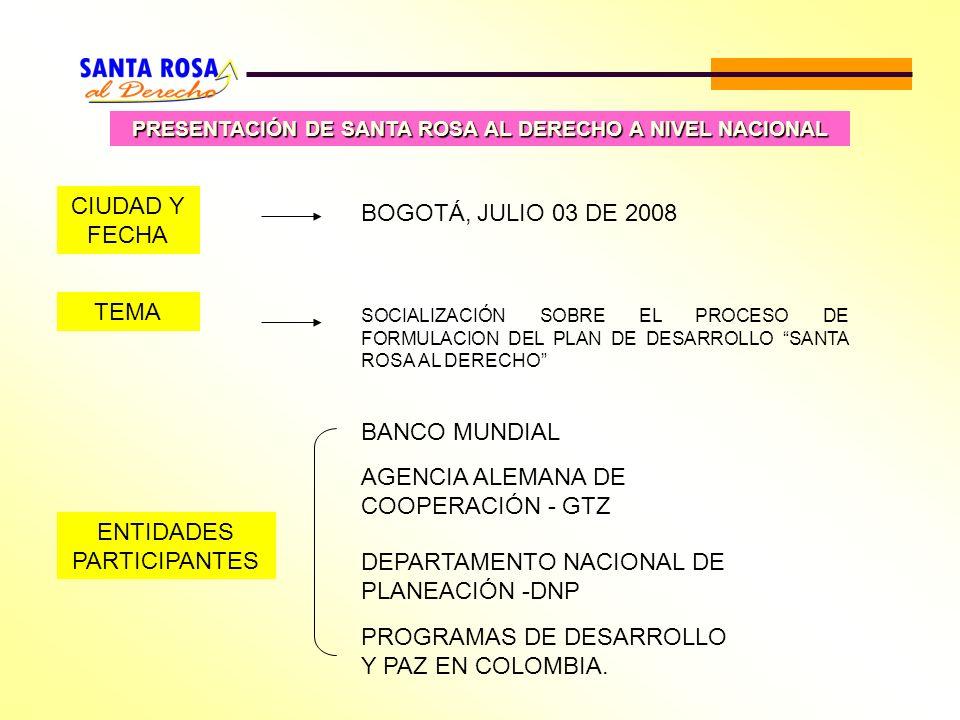 PRESENTACIÓN DE SANTA ROSA AL DERECHO A NIVEL NACIONAL ENTIDADES PARTICIPANTES BANCO MUNDIAL AGENCIA ALEMANA DE COOPERACIÓN - GTZ DEPARTAMENTO NACIONA