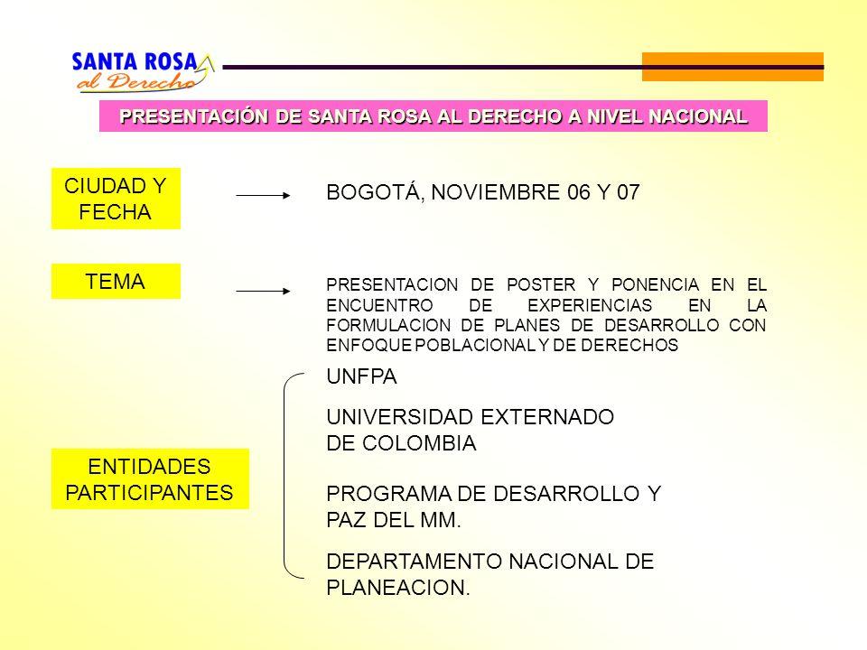 PRESENTACIÓN DE SANTA ROSA AL DERECHO A NIVEL NACIONAL ENTIDADES PARTICIPANTES UNFPA UNIVERSIDAD EXTERNADO DE COLOMBIA PROGRAMA DE DESARROLLO Y PAZ DE
