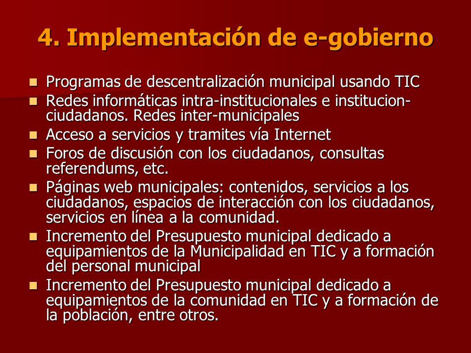 4. Implementación de e-gobierno Programas de descentralización municipal usando TIC Programas de descentralización municipal usando TIC Redes informát