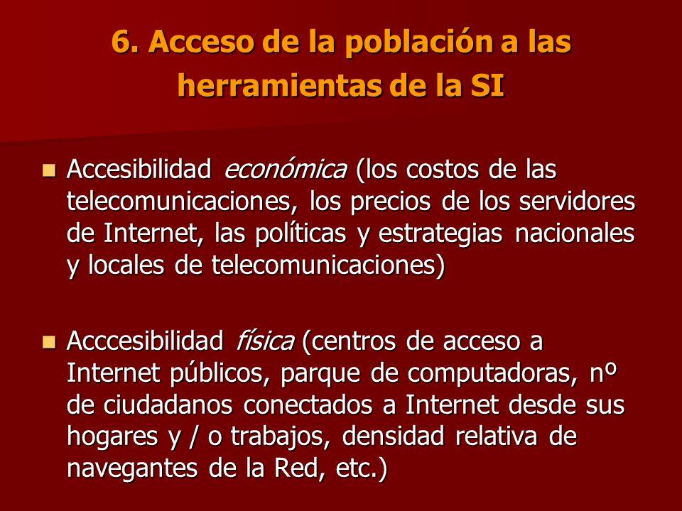 6. Acceso de la población a las herramientas de la SI Accesibilidad económica (los costos de las telecomunicaciones, los precios de los servidores de