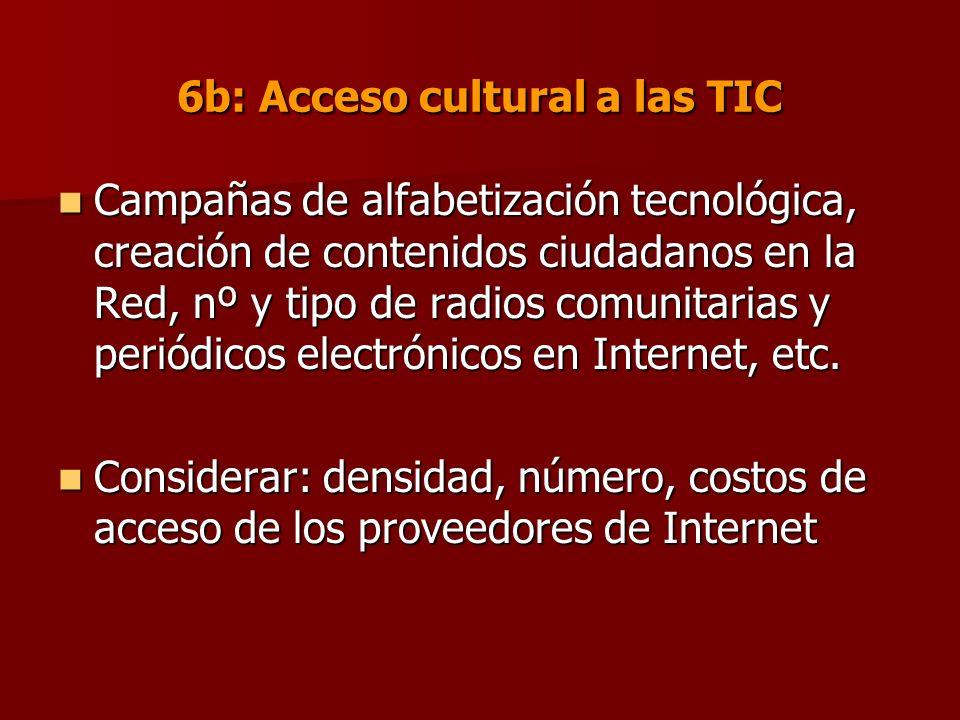 6b: Acceso cultural a las TIC Campañas de alfabetización tecnológica, creación de contenidos ciudadanos en la Red, nº y tipo de radios comunitarias y periódicos electrónicos en Internet, etc.