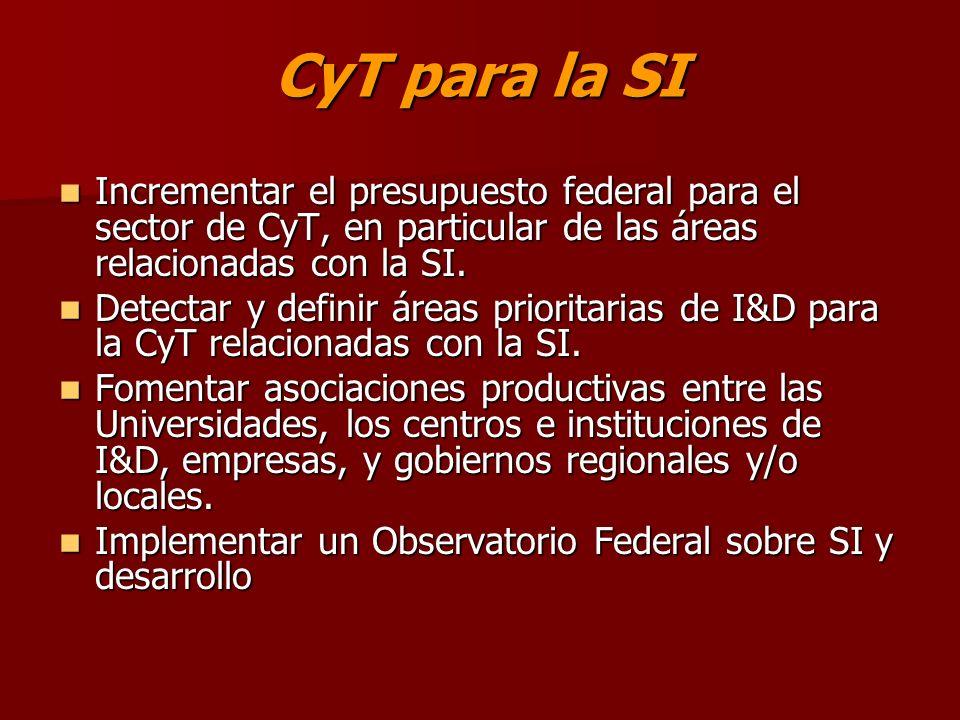 CyT para la SI Incrementar el presupuesto federal para el sector de CyT, en particular de las áreas relacionadas con la SI.