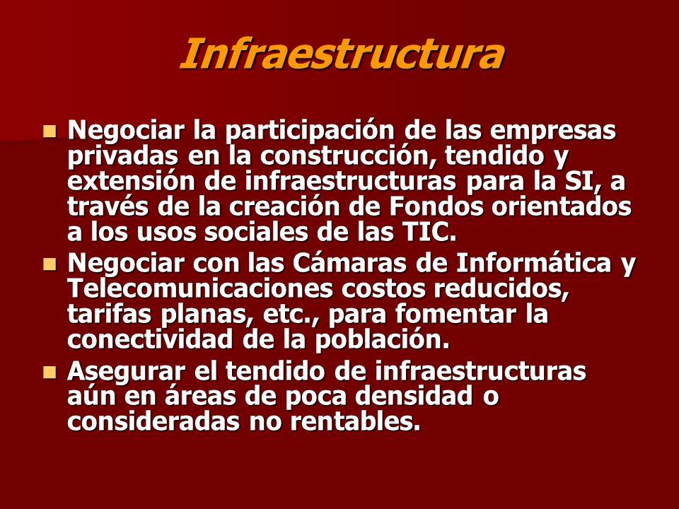 Infraestructura Negociar la participación de las empresas privadas en la construcción, tendido y extensión de infraestructuras para la SI, a través de la creación de Fondos orientados a los usos sociales de las TIC.