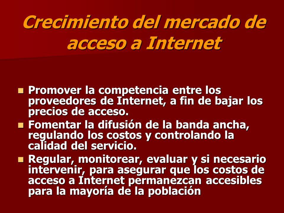 Crecimiento del mercado de acceso a Internet Promover la competencia entre los proveedores de Internet, a fin de bajar los precios de acceso.