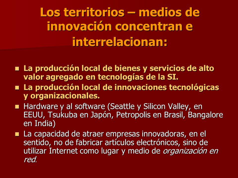 Los territorios – medios de innovación concentran e interrelacionan: La producción local de bienes y servicios de alto valor agregado en tecnologías de la SI.