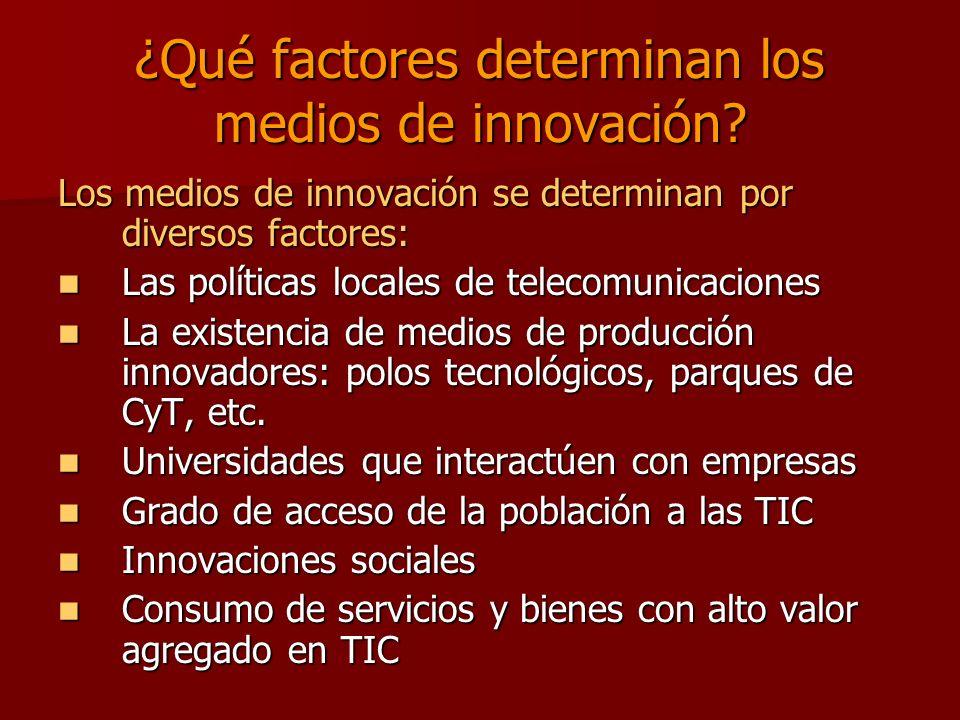 ¿Qué factores determinan los medios de innovación.