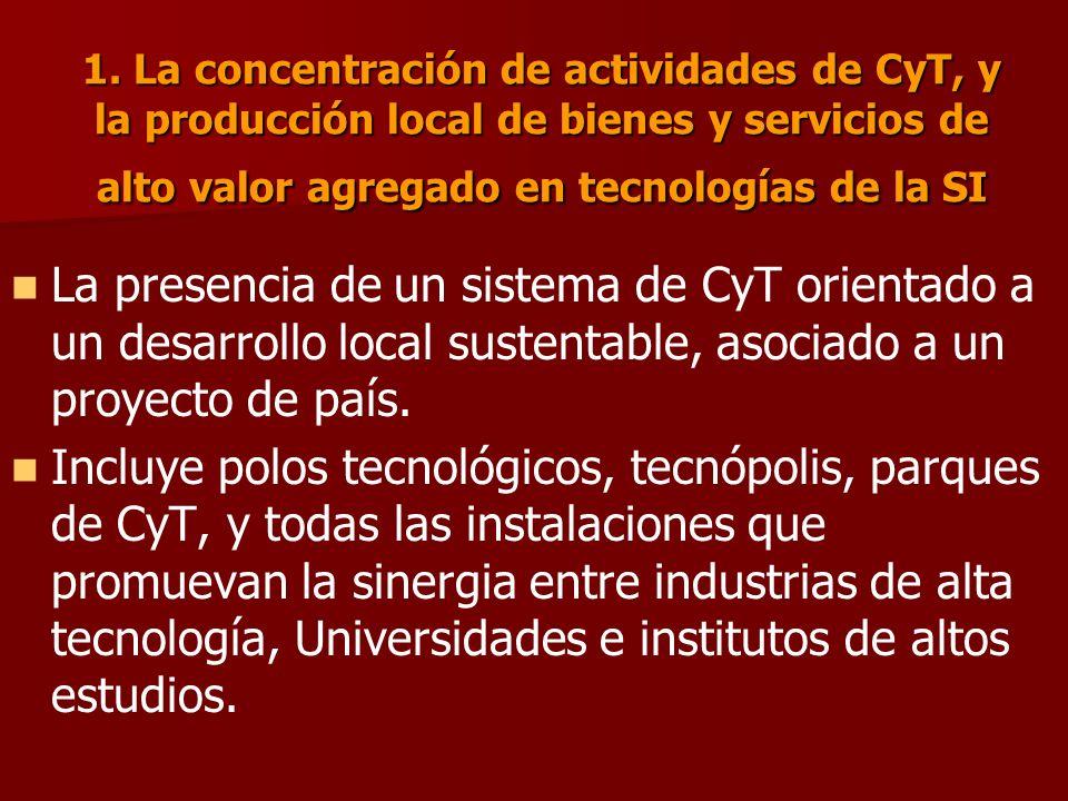 1. La concentración de actividades de CyT, y la producción local de bienes y servicios de alto valor agregado en tecnologías de la SI La presencia de