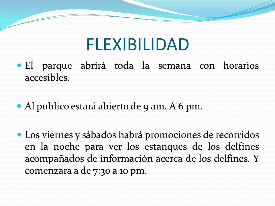 FLEXIBILIDAD El parque abrirá toda la semana con horarios accesibles. Al publico estará abierto de 9 am. A 6 pm. Los viernes y sábados habrá promocion