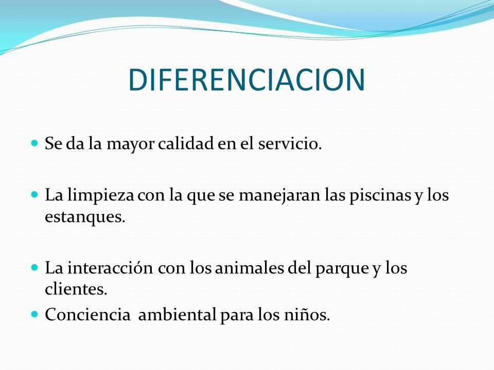 DIFERENCIACION Se da la mayor calidad en el servicio. La limpieza con la que se manejaran las piscinas y los estanques. La interacción con los animale