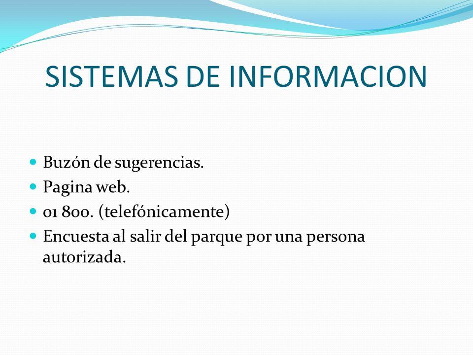 SISTEMAS DE INFORMACION Buzón de sugerencias. Pagina web. 01 800. (telefónicamente) Encuesta al salir del parque por una persona autorizada.